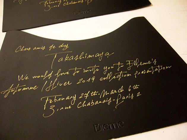 calligraphe invitations, calligraphie invitation paris, invitations défilé de mode